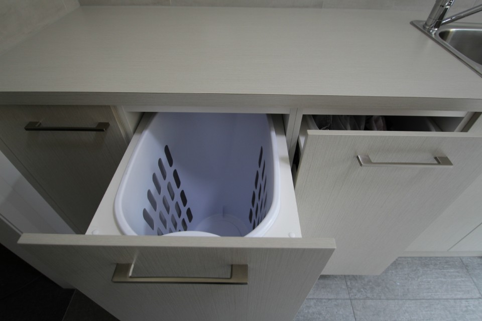 Laundry Pull out Bin & Joinery | Custom Laundry Cabinets | Ballarat Cabinetry